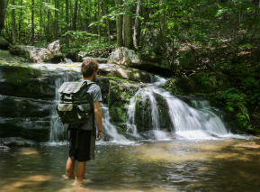 Backpacker at Hogcamp Branch - Shenandoah National Park