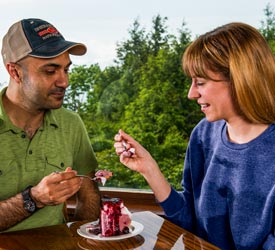 Couple Eating Blackberry Ice Cream Pie in Shenandoah National Park