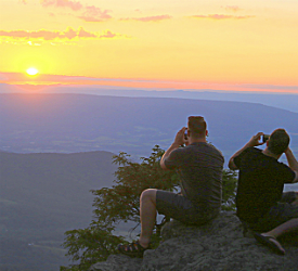 Men Taking Sunset Photo in Shenandoah National Park