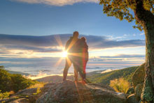 Couple at Overlook on Skyline Drive in Shenandoah National Park