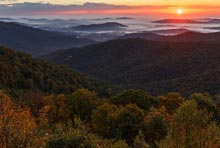 Buck Hollow Overlook Sunrise in Fall - Shenandoah National Park